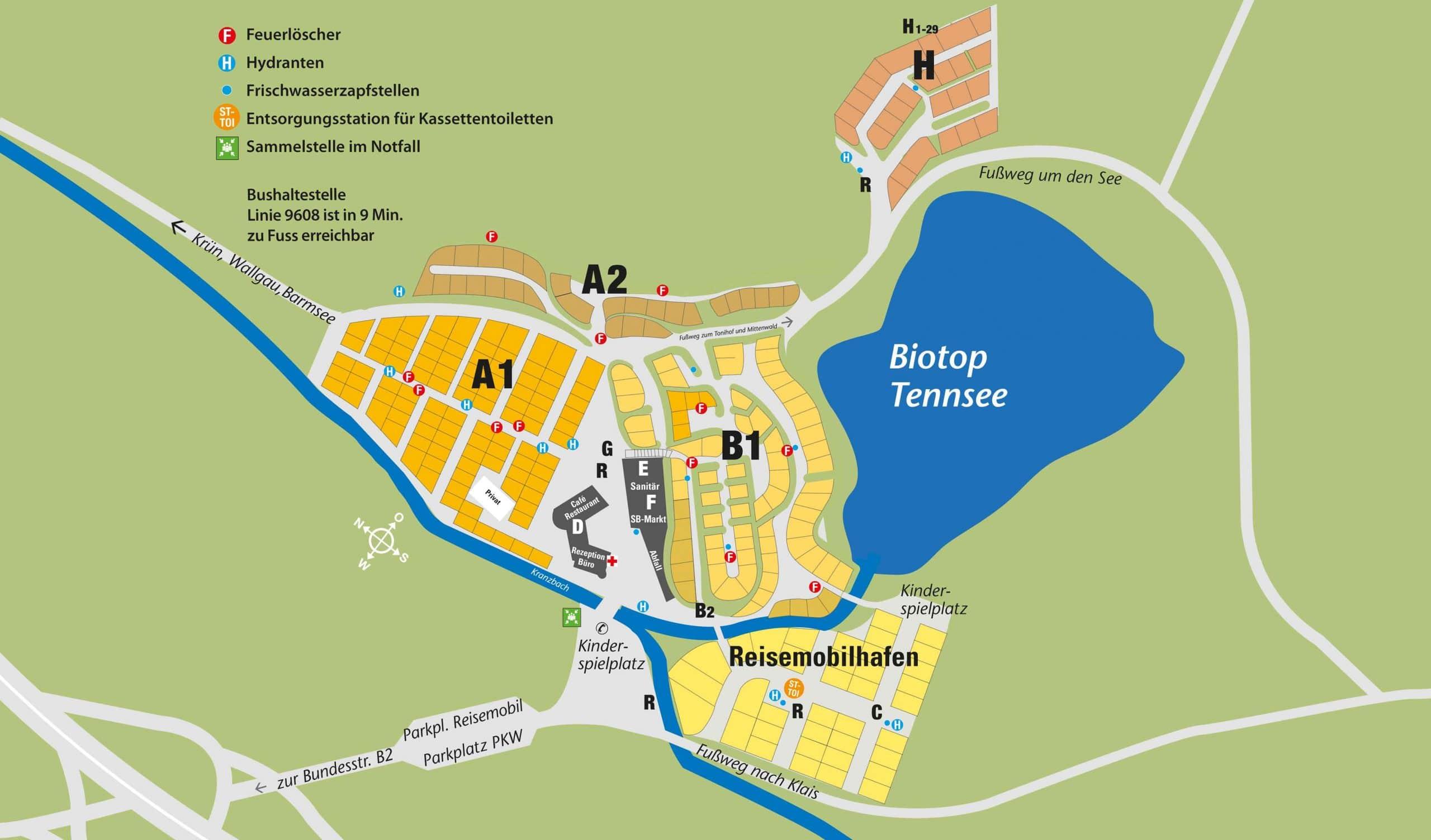 Camping Tennsee Bayern Platzuebersicht